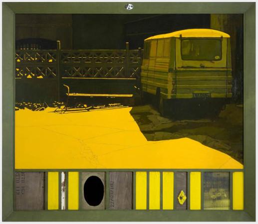 """8 Jacek Rykała """"Zmierzch wszedł cicho"""" 2008, olej na płótnie, + collage, wymiary 159x186,5cm"""