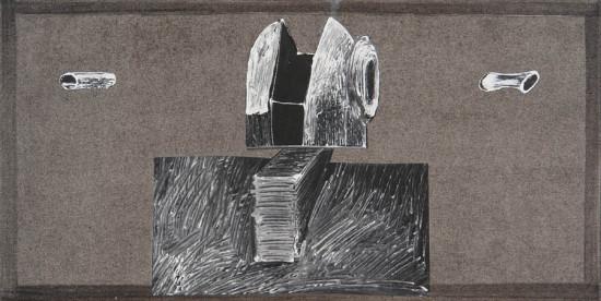 """Wojciech Kopczyński """"Bez tytułu"""", 2009/2010, akryl, kolaż na płótnie, wymiary 30x60 cm, / NEDOSTĘPNY"""