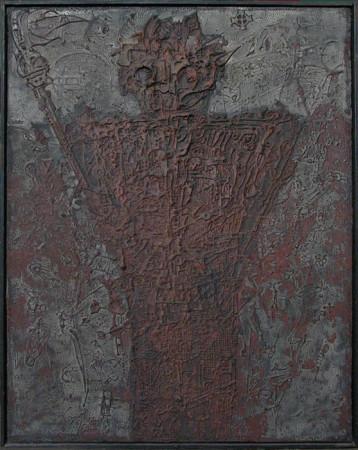 """Wojciech Kopczyński, """"Strażnik"""", 1980, akryl na płótnie, wymiary 59,5x47 cm, / REZERWACJA"""