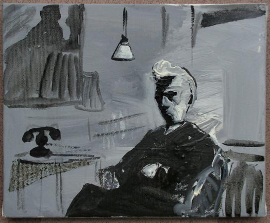 """Zdzisław Nitka, """"Edward Munch"""", 2017, olej na płótnie nałożonym na deskę, wymiary 17,4x21,3 cm, obraz sygnowany i opisany na odwrocie, KOLEKCJA GALERII"""