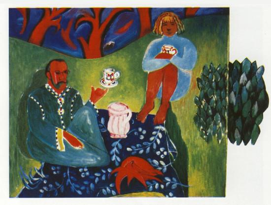 """Yolanta Nikt, """"Piknik z Matissem"""", 1995, olej na płótnie, kolaż, wymiary 100x150 cm, / KOLEKCJA GALERII"""