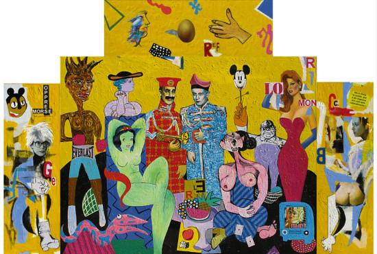 """Marek Kamieński """"Beatlesom, bez których..."""", 2011, akryl, olej na płótnie, poliptyk, wymiary 220x320 cm, / obraz jest reprodukowany w katalogu """"Marek KAMIEŃSKI - Obrazy duże i małe"""", Galeria MM, Chorzów, 2011"""
