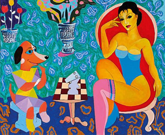 """Marek Kamieński """"Szachy"""", 2014, olej, akryl na płótnie, wymiary 100x120 cm, NIEDOSTĘPNY"""