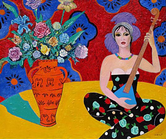"""Marek Kamieński """"Odaliska"""", 2012, olej, akryl na płótnie, wymiary 110x130 cm"""