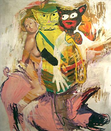 """Marek Kamieński """"Bez tytułu"""" 1986/88r., olej, akryl+collage na płótnie, wymiary 200x170 cm, / obraz jest reprodukowany w katalogu """"Nowa ekspresja. 20lat vol. 2"""", Galeria Sztuki Współczesnej BWA w Olsztynie"""