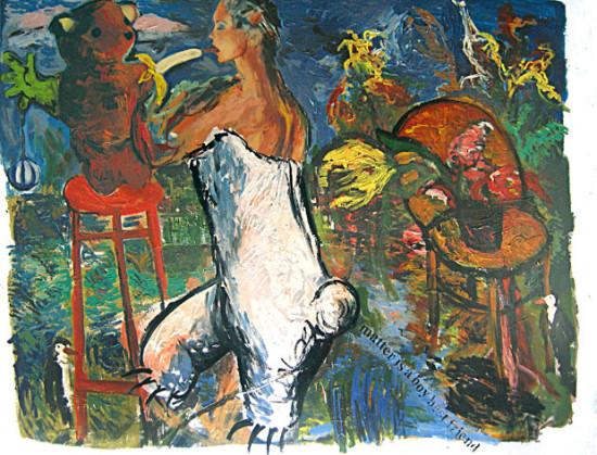 """Marek Kamieński """"Miś"""" 1986/88r. olej, akryl+collage na płótnie, wymiary 140 x 180 cm, / obraz jest reprodukowany w katalogu """"ŚWIEŻO MALOWANE, młode malarstwo polskie lat 1982-1987"""", Galeria Zachęta, Warszawa, 1988"""