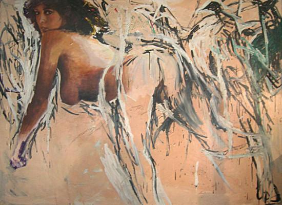 """Marek Kamieński """"Pasifae"""" 1984, olej, akryl+collage na płótnie, wymiary 170 x 240 cm, / obraz jest reprodukowany w katalogu """"Nowa ekspresja. 20lat vol. 2"""", Galeria Sztuki Współczesnej BWA w Olsztynie"""