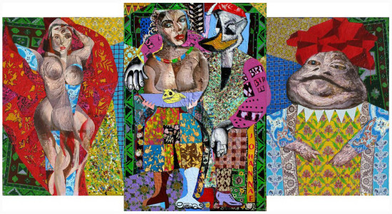 """Marek Kamieński """"Taniec Salome"""" 2008r. olej, akryl na płótno, wymiary 150x370cm. /obraz.III częściowy/, / obraz jest reprodukowany w katalogu """"Marek KAMIEŃSKI - Obrazy duże i małe"""", Galeria MM, Chorzów, 2011oraz w / katalogu """"Marek Kamieński, Malarstwo"""", Biuro Wystaw Artystycznych Rzeszów, 2011"""
