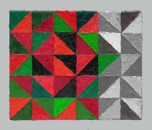 """Krzysztof Wróblewski, """"Maki – szary pion"""", 2014, olej na płótnie, 22×27 cm"""