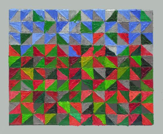 """Krzysztof Wróblewski, """"Niebo-maki"""", 2014, olej na płótnie, 24×30 cm"""