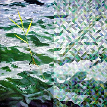 """Krzysztof Wróblewski. """"Trzcina"""", 2013, olej na płótnie, 130×130 cm"""