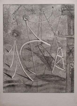 """Jonasz Stern, """"Kompozycja surrealistyczna"""", lata 50-te, Monotypia na papierze, wymiary 41,5x29,5 cm"""