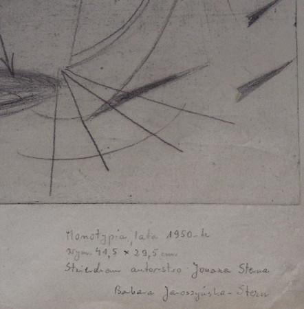 """Jonasz Stern, """"Kompozycja surrealistyczna"""" odwrotna strona z potwierdzeniem autentyczności podpisane przez żonę artysty Barbarę Jaroszyńską-Stern"""