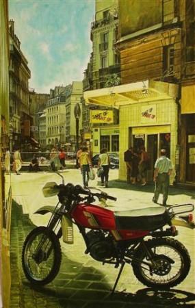 """15. Andrzej.A.Sadowski, """"Paryż-Saint OP-Yamaha 125 DT"""", 1989, akryl na papierze, wymiary 97,8x61,7 cm"""