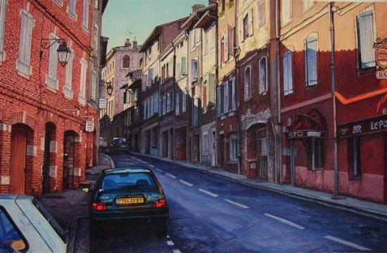 """2. Andrzej.A.Sadowski, """"Albi-bar le Pont"""", 2009, gwasz na papierze, wymiary 32,5x49,8 cm"""