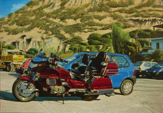 """20. Andrzej A. Sadowski, """"Kreta-Matala-parking-czerwona Honda Goldwing"""", 1998, akryl na płótnie, wymiary 65x92cm"""
