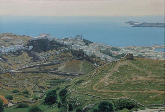 "21. Andrzej A. Sadowski, ""Siros-widok z Mt.Pirgos na Ano Siros i Ermoupoli"", 1997, akryl na płótnie, wymiary  50x73 cm"