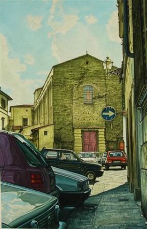 """3. Andrzej.A.Sadowski, """"Florencja-Santa Maria del Carmine"""", 2010, gwasz na papierze, wymiary 46,5x40 cm"""