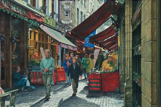 """4. Andrzej.A.Sadowski, """"Bruksela-stare miasto-Petit Bedon"""", 2002, gwasz na papierze, wymiary 31x46,5 cm"""