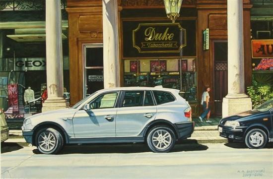 """5. Andrzej.A.Sadowski, """"Turyn-via Roma-Duke"""", 2009, gwasz na papierze, wymiary 29,5x44,8 cm"""