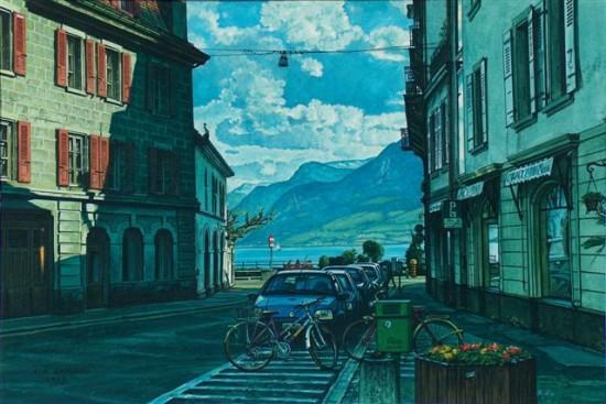 """7. Andrzej.A.Sadowski, """"Vevey-widok na jeziorem Genewskim, 1998, gwasz na papierze, wymiary 26,8x40,5 cm"""