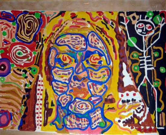 """Ryszard Grzyb """"Drugi z trzech portretów Joli, no wiesz - żona autora"""" 2007r. akryl/pł., wym.: 135x160cm"""