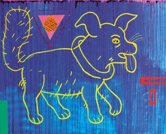 """Ryszard Grzyb """"Stafik z puszystym ogonem"""" 2007r. akryl/pł., wym.: 140x180cm"""