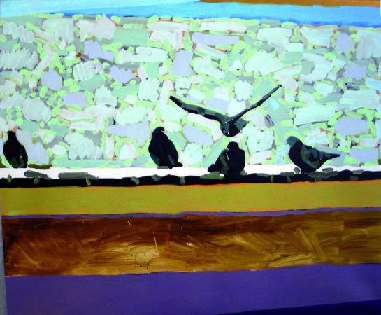 """Ryszard Grzyb """"Ptaki zanim się znów zobaczymy"""" 2008r. akryl/pł., wym.: 150x190cm"""