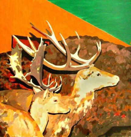 """Ryszard Grzyb """"Dwie pary rogów"""" 2009r. akryl/pł., wym.: 133x100cm"""