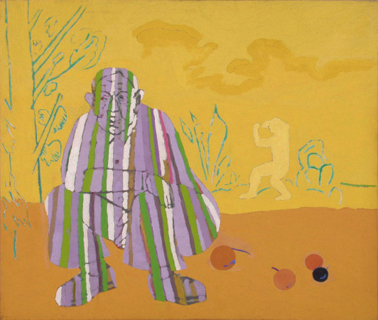 """Ryszard Grzyb """"Wobrażony bohater pomalowany w paski sra jabłkami w wymaginowanym parku, gdy realny bohater ćwiczy jakieś kata w prawdziwym parku"""" 1989r. olej na płótnie, wym. 120 x 140 cm"""