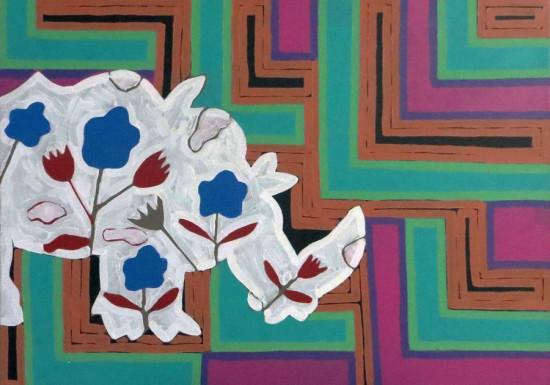 """Ryszard Grzyb, """"Trzeba dbać o siebie i trzymać się wiatru"""", 2013, akryl na płótnie, wymiary 70×100 cm"""