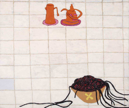 """Ryszard Grzyb """"Śmierć wojskowego w kuchni"""" 1989r, olej na plótnie, wym. 120 x 140 cm"""