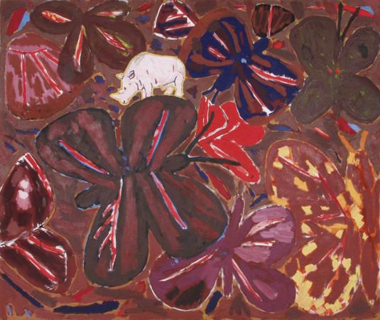 """Ryszard Grzyb """"Mały nosorożec"""" 1990r, olej na plótnie, wym. 135 x 160 cm"""