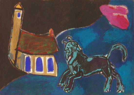 """Ryszard Grzyb, """"Centaur i domek"""", tempera na papierze, wymiary 70x100 cm"""