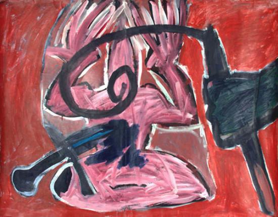 """Ryszard Grzyb """"Lancet myśli, biczyk uczuć"""" 1985r, tempera na papierze, wymiary 100x130 cm"""