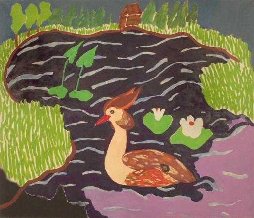 """Ryszard Grzyb """"Sala pamięci 1"""" 1992r, olej na płótnie, wym. 120 x 140 cm"""