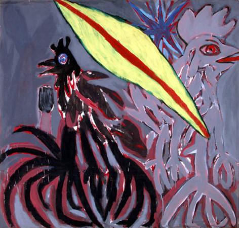 """Ryszard Grzyb """"Wszystkie kury w Szopienicach mają cztery nogi"""" 1986r, tempera na papierze, wymiary 135x141 cm"""