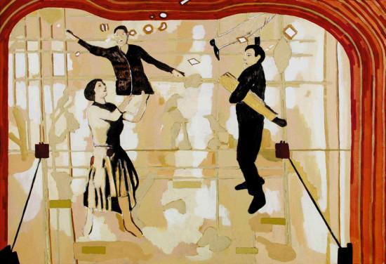 """Ryszard Grzyb """"Trąf, trąf, Misia-Bela, Misia-Asia, Kąfa-Cela"""" 2003r, akryl na płótnie, wym. 89 x 130 cm"""