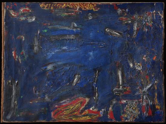 """Dadeusz Dominik, """"Bez tytułu"""", druga połowa lat 50-tych, olej na płótnie, wymiary 46×62 cm"""