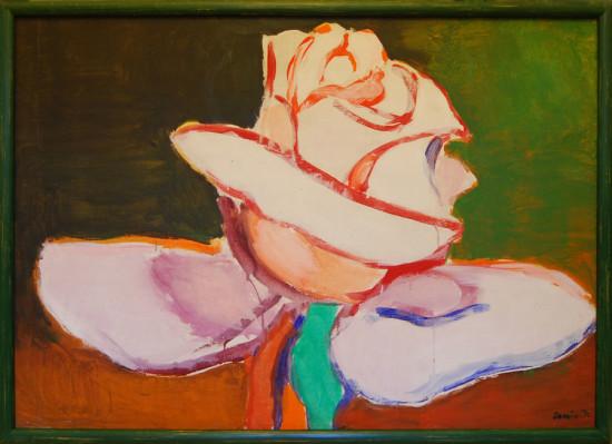 """Tadeusz Dominik, """"Róża III"""", 1974, akryl na płótnie, wymiary 81×116 cm"""
