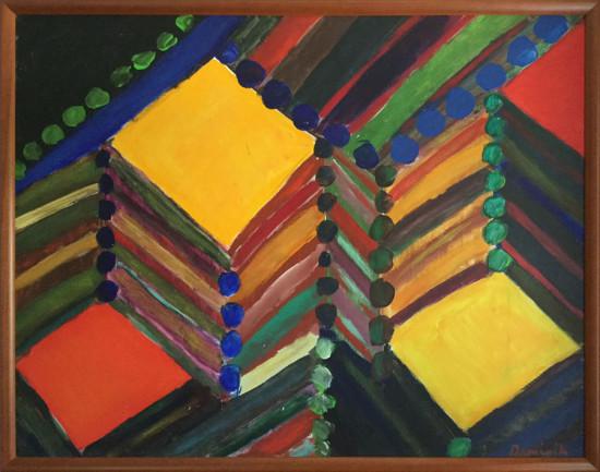 """Tadeusz Dominik, """"Kompozycja"""", 1978, akryl na płótnie, wymiary 96×125 cm"""
