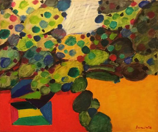 """Tadeusz Dominik, """"Pejzaż"""", 1991, akryl na płótnie, wymiary 90×110 cm"""