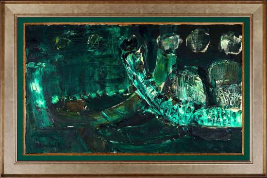 """Tadeusz Dominik, """"Bez tytułu"""", 1962, olej na płótnie, wymiary 51x86,5 cm, / obraz pochodzi z kolekcji z Nowego Jorku, powstał w Stanach Zjednoczonych, podczas pobytu artysty w Nowym Jorku 1961-1962 z okazji przyznania stypendium Fundacji Forda"""
