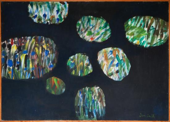 """Tadeusz Dominik, """"Wyspy"""", 1969, akryl na płótnie, wymiary 89×125 cm"""