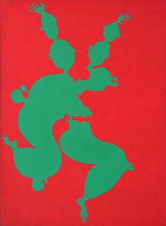 """Jan Dobkowski, """"Pączkująca"""", 1970, olej na płótnie, wymiary 197x147 cm, / obraz jest reprodukowany w katalogu, """"Moje lata sześciesiąte i siedemdziesiąte"""", """"Art NEW media S.A.Warszawa, / KOLEKCJA GALERII"""