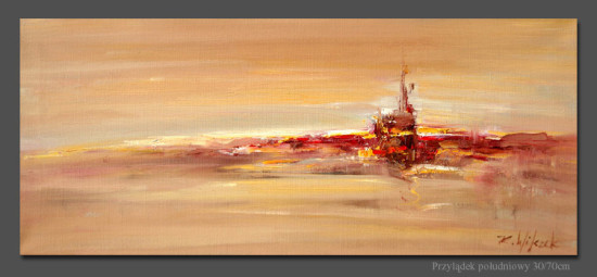 """5 Kornel Wilczek """"Przylądek południowy"""", olej na płótnie, wymiary 30x70 cm"""