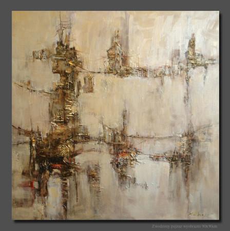 """Kornel Wilczek, """"Zwodzony pejzaż wyobraźni"""", 2012, autorska technika mearlin-metalic na płótnie, wymiary 90x90 cm"""