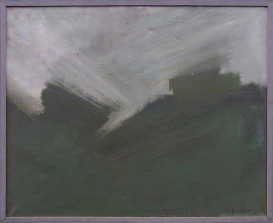 """Barbara Jonscher """"Krajobraz ze światłem"""", 1972, olej na płótnie, wymiary 81 x 100 cm"""