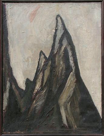 """Barbara Jonscher """"Bez tytułu (Mnich, Tatry)"""", niedatowany, olej na płótnie, wymiary 60x45 cm"""