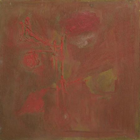 """Barbara Jonscher """"Kwiat"""", 1963r. olej na płótnie, wymiary 48×48 cm, /obraz był prezentowany na indywidualnej wystawie Barbary Jonscher, Laureaci nagrody im. Jana Cybisa, w Muzeum Śląska Opolskiego  w Opolu, 2011"""